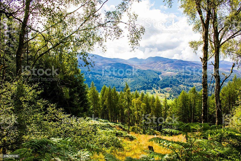 View of Mountains around Loch Tummel, Scotland, UK stock photo