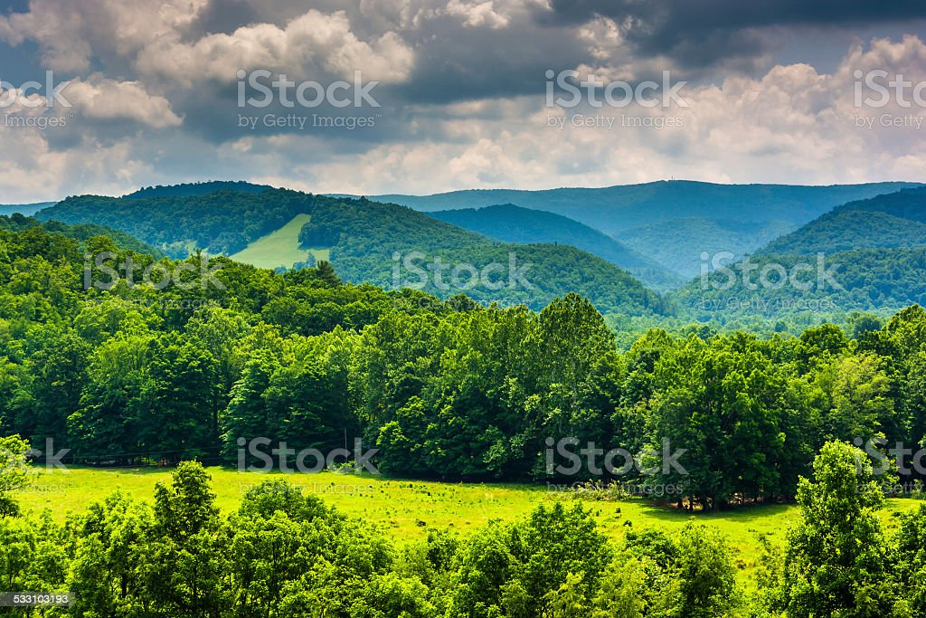 View of mountains in the Potomac Highlands of West Virginia. stock photo