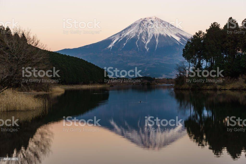 冬の田貫湖からの富士山の景色 ストックフォト