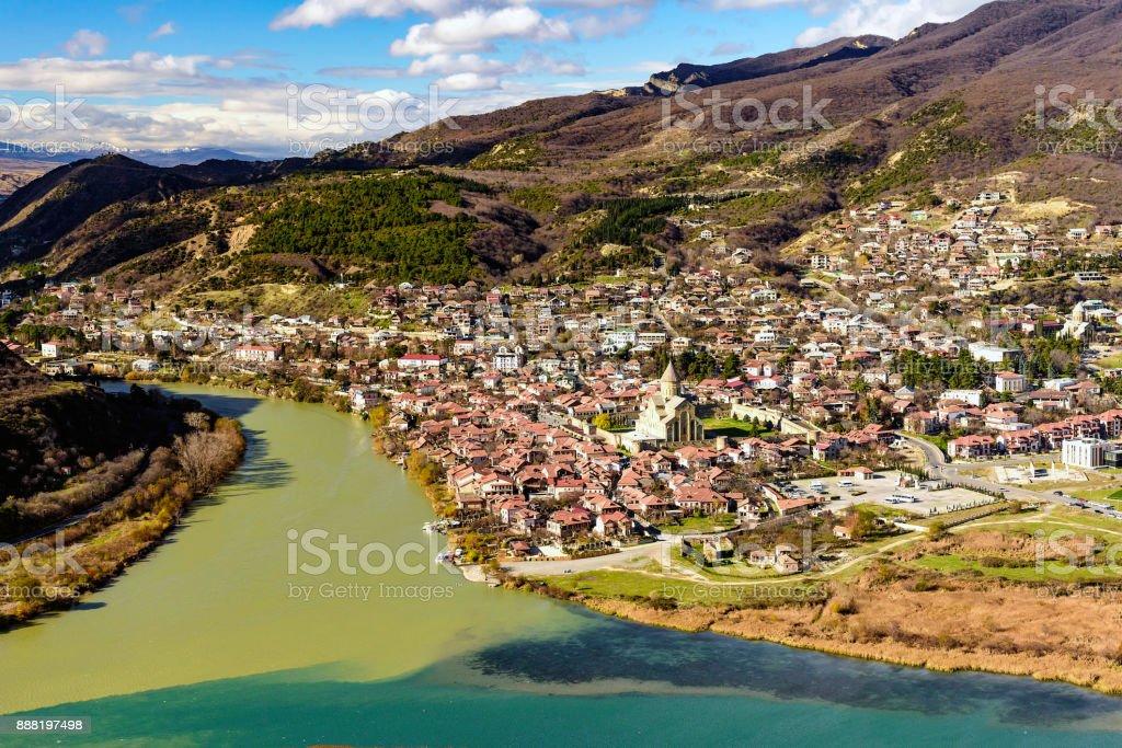 View of Mtskheta from Jvari Monastery stock photo
