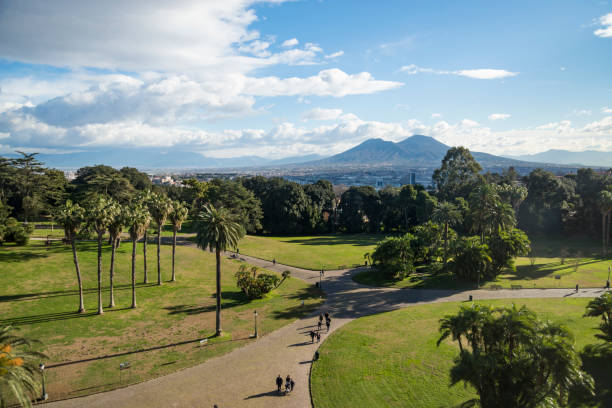 View of Mt.Vesuvius, an active volcano in Naples, form Capodimonte stock photo
