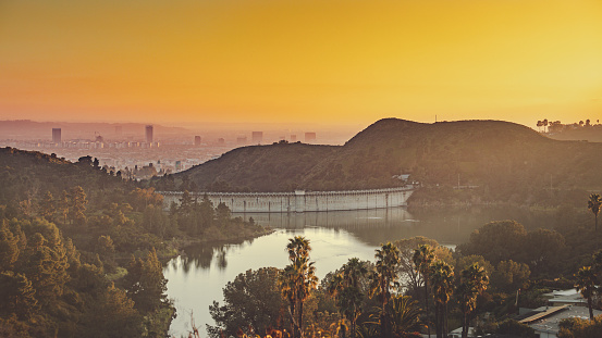 View of Mulholland Dam at dusk in Los Angeles