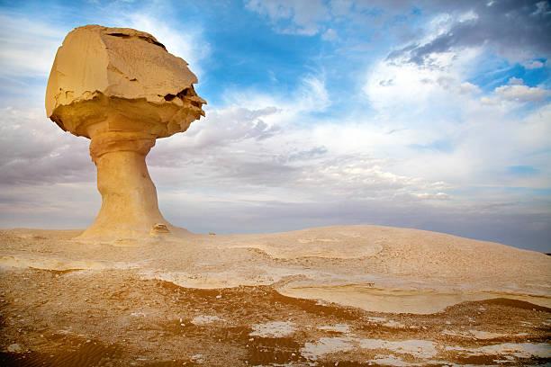 View of Mushroom Rock in the White desert, Egypt stock photo