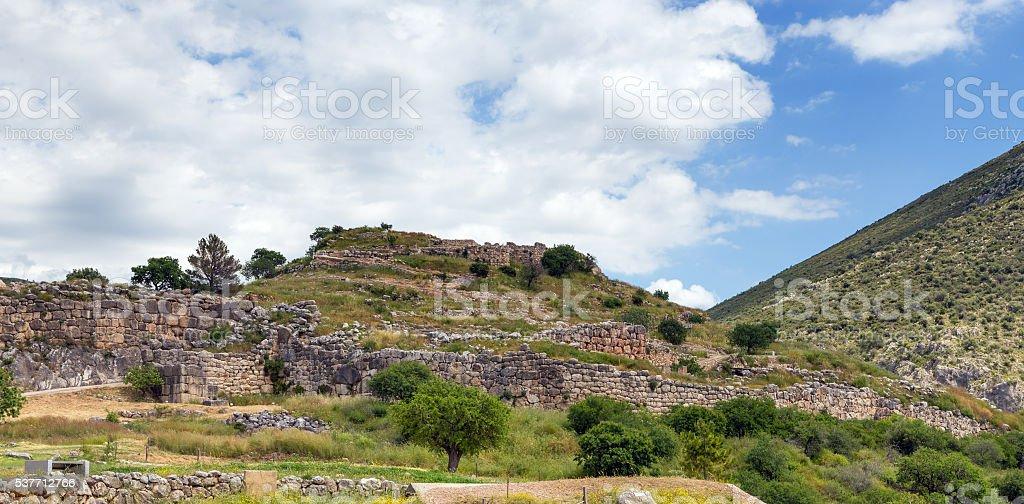View of Mycenae citadel, Peloponnese, Greece stock photo