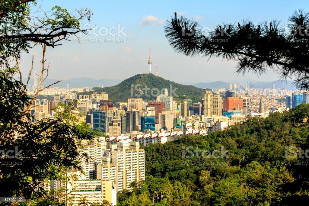 View of Namsan tower from the Asan Mountain, Seoul, South Korea stock photo