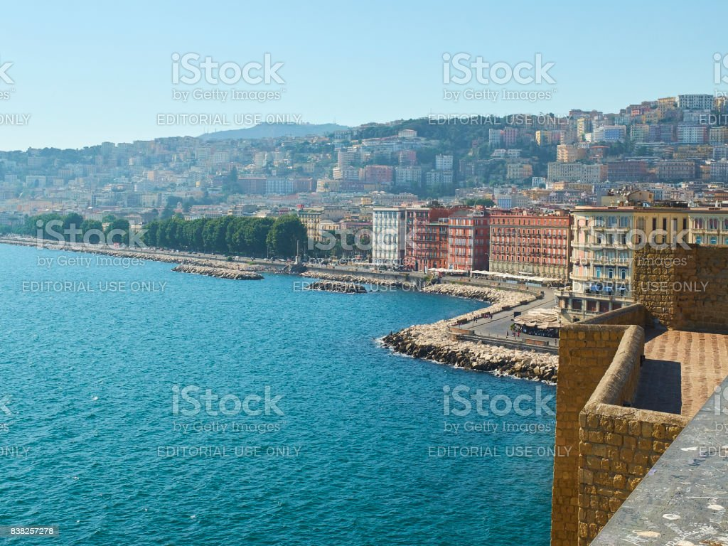 View of Naples from Castel dell'Ovo castle. Campania, Italy. stock photo