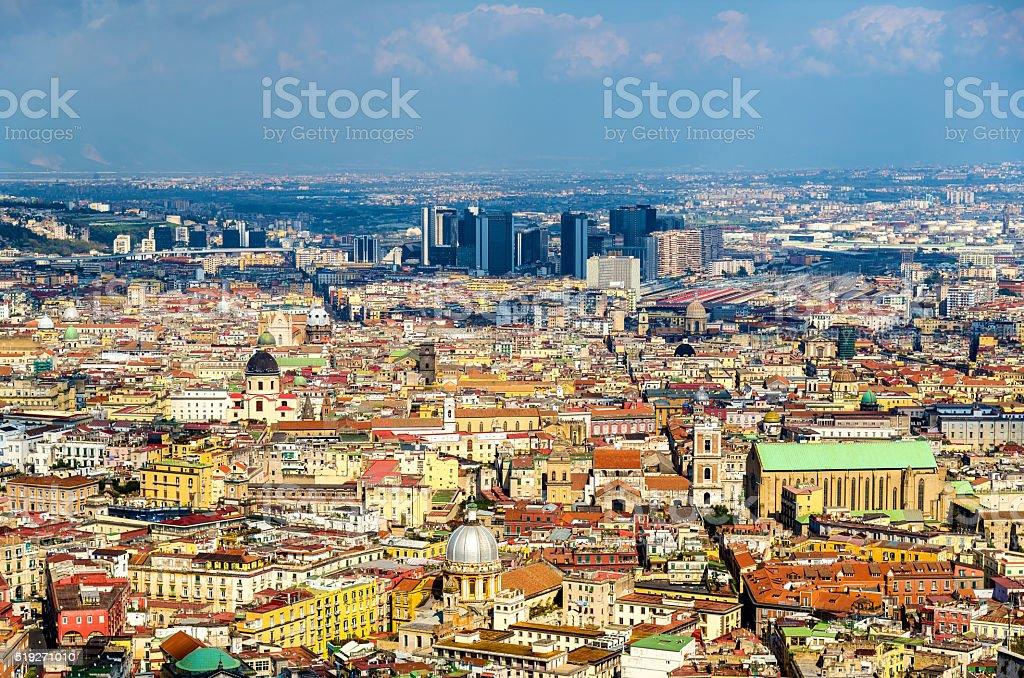 View of Naples towards the Centro Direzionale and Napoli Centrale stock photo