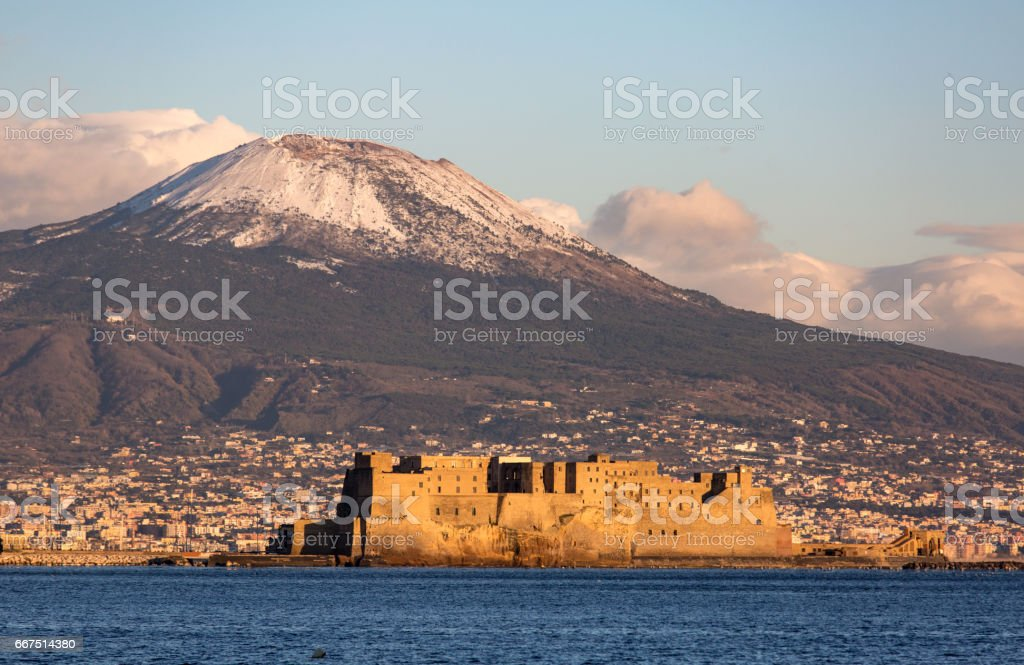 view of Naples with Vesuvius mount with snow on the background stock photo