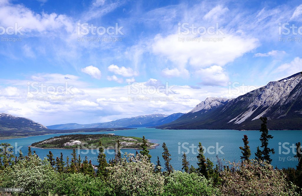 View of Nares Lake and Bove Island with mountains on left stock photo