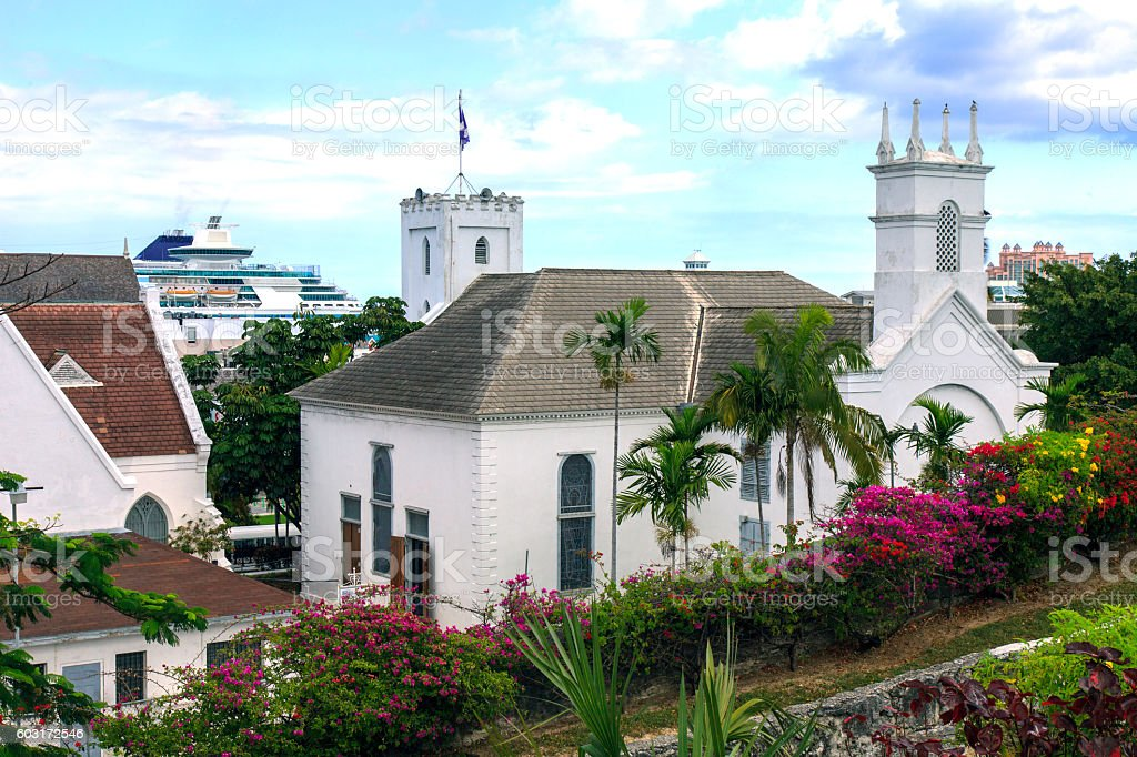 View of Nassau in the Bahamas stock photo