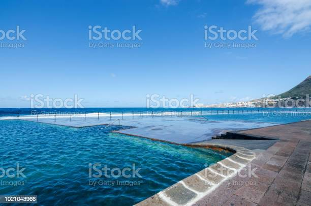 View Of Natural Outdoor Swimming Pools In The Small Fishing Village Bajamar Tenerife Canary Islands Spain Stock Photo Download Image Now Istock