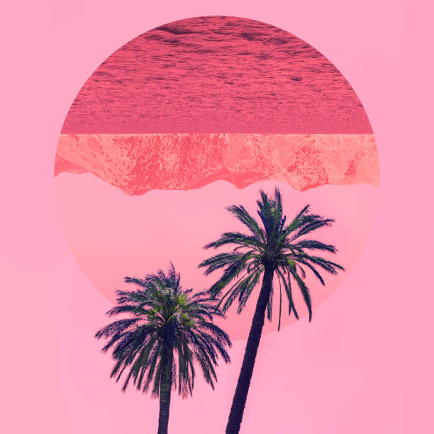 Blick auf die Natur mit Palmen in den Farben der inversion – Foto