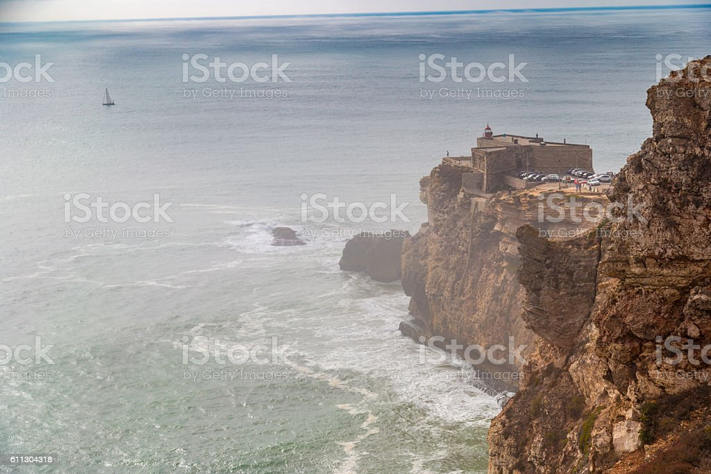 View of Nazare's lighthouse in Zon North Canyon, Nazare, Portugal stock photo