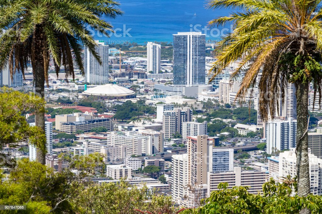View of Neal Blaisdell Centre, Honolulu, Oahu stock photo
