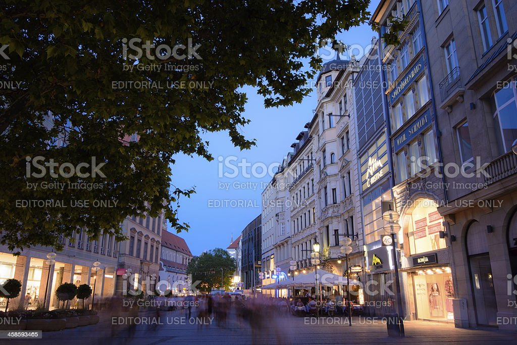 View of Neuhauser Straße in Munich, Germany at night royalty-free stock photo