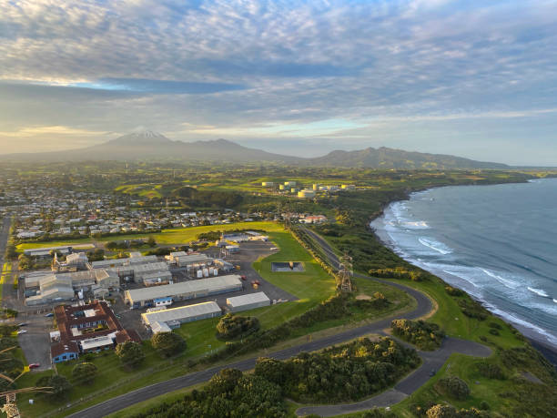 View of New Plymouth and Mt Taranaki from Paritutu Rock stock photo