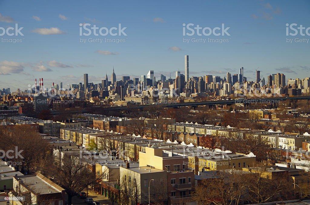 View of New York City Manhattan skyline stock photo