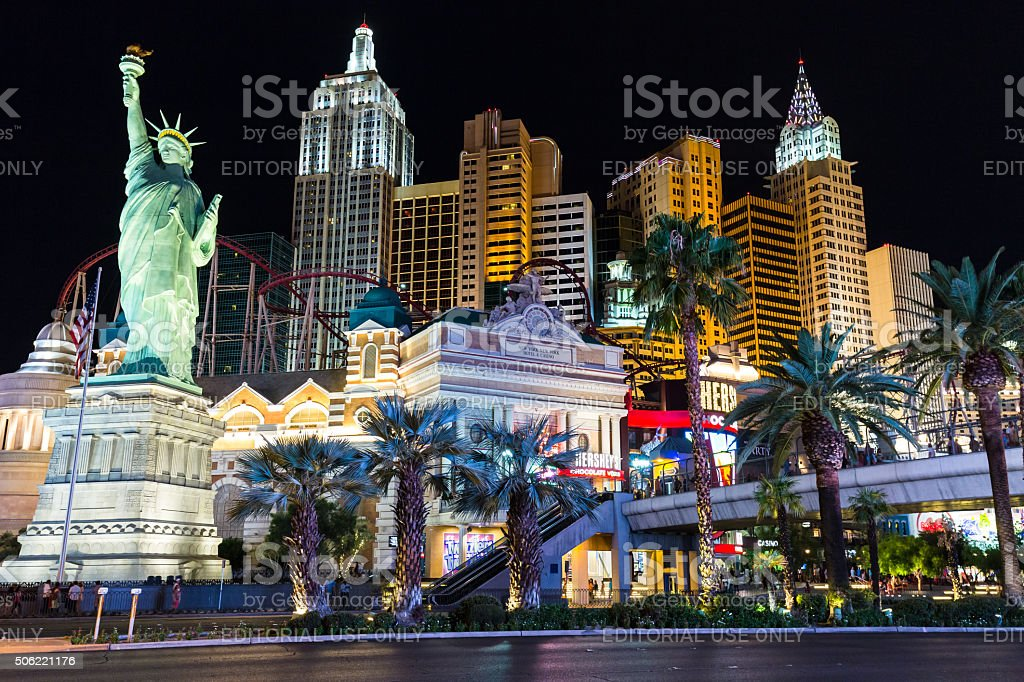 View Of New Yorknew York Hotel And Casino At Night Stock Photo