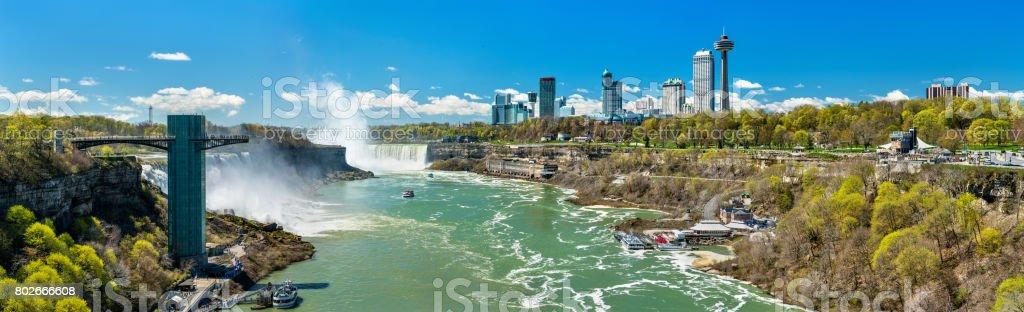 View of Niagara Falls from the Rainbow Bridge, the US - Canadian border stock photo