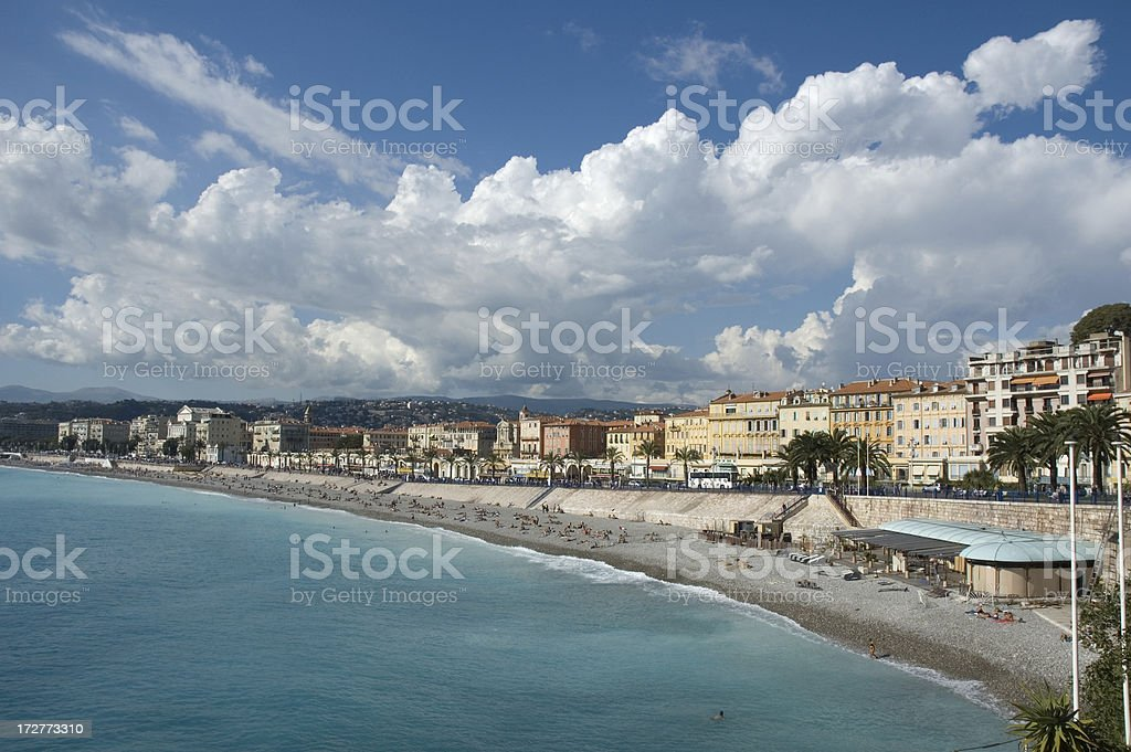 View of Nice beach, Cote d'Azur royalty-free stock photo