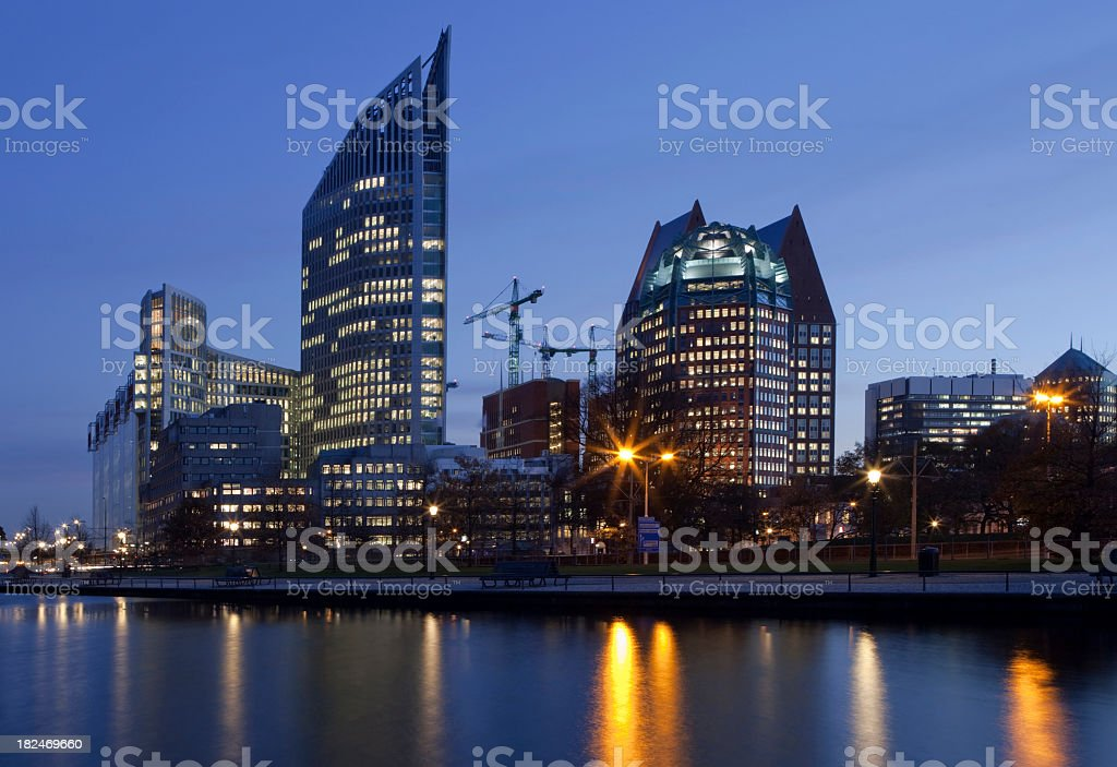 View of night falling over at The Hagues architecture stock photo