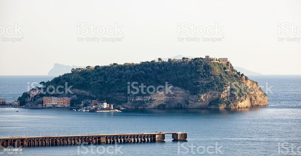 View of Nisida island in the gulf of Pozzuoli stock photo