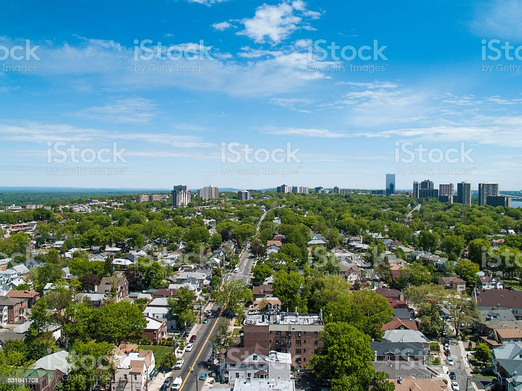 View of Northern NJ from Cliffside Park stock photo