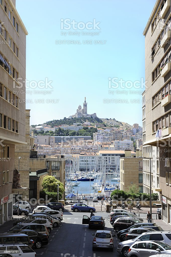 View of Notre Dame de la Garde from downtown Marseilles stock photo
