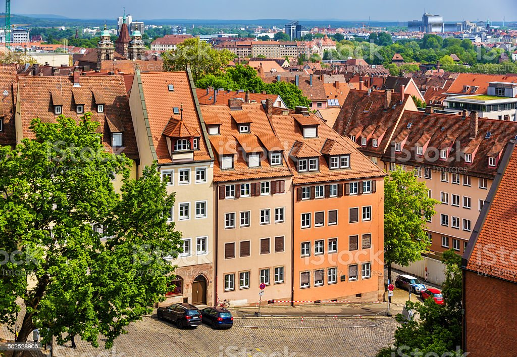 View of Nuremberg from the castle stock photo