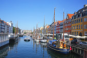 View of Nyhavn which is a Historic 17th-century waterfront with wooden ships, canal, colourful buildings and entertainment district in Copenhagen, Denmark.