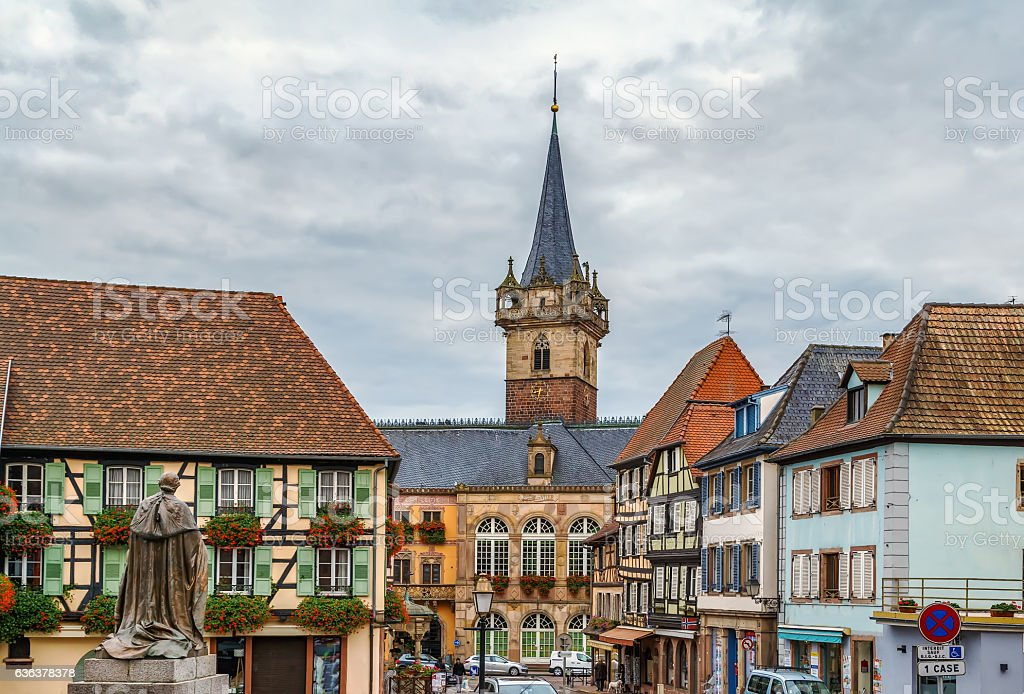 view of Obernai, Alsace, France stock photo