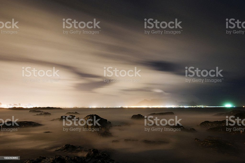 View of ocean and Table Mountain stock photo