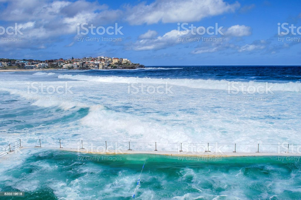View of ocean from Bondi Icebergs Pool at Bondi Beach stock photo