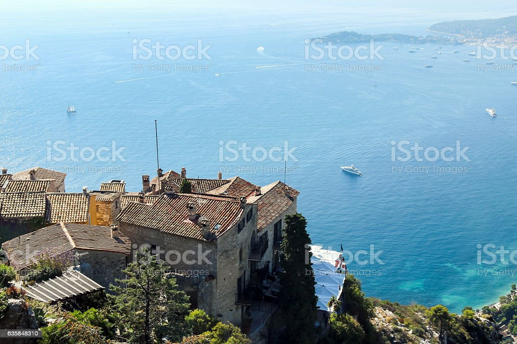 view of ocean from Eze Village stock photo
