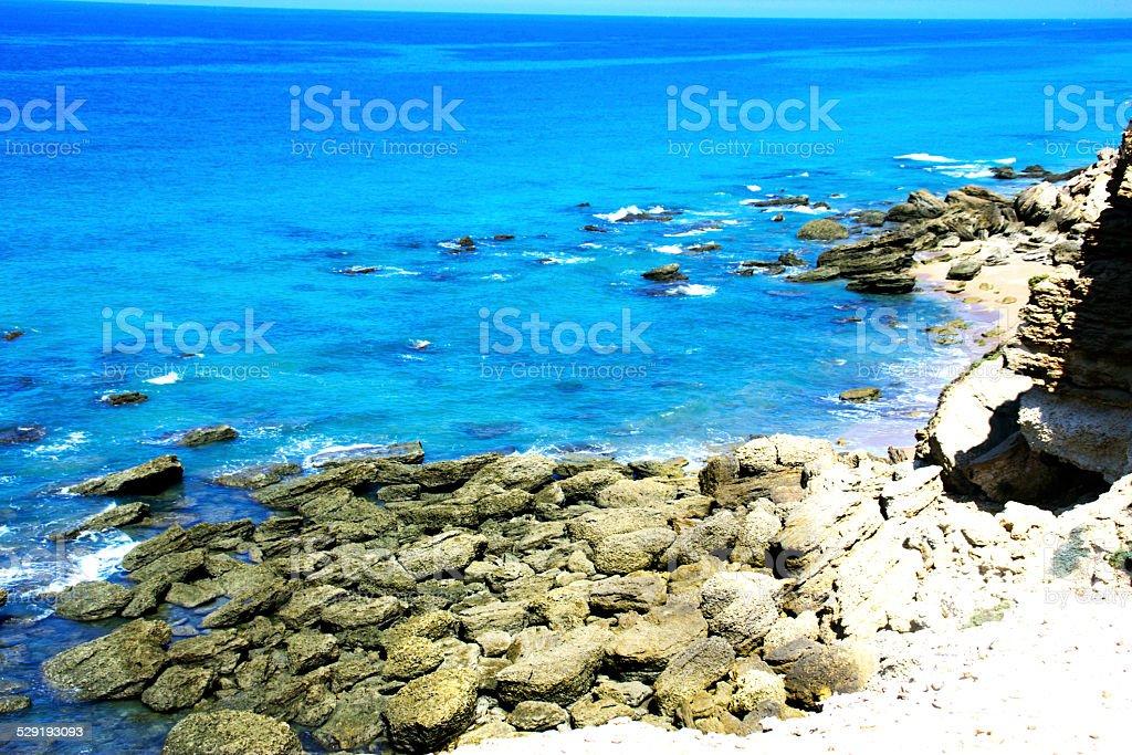 view of ocean in conil stock photo