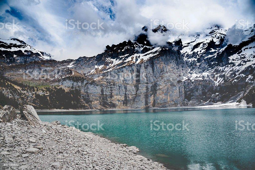 View of Oeschinensee Lake - Kandersteg Switzerland stock photo