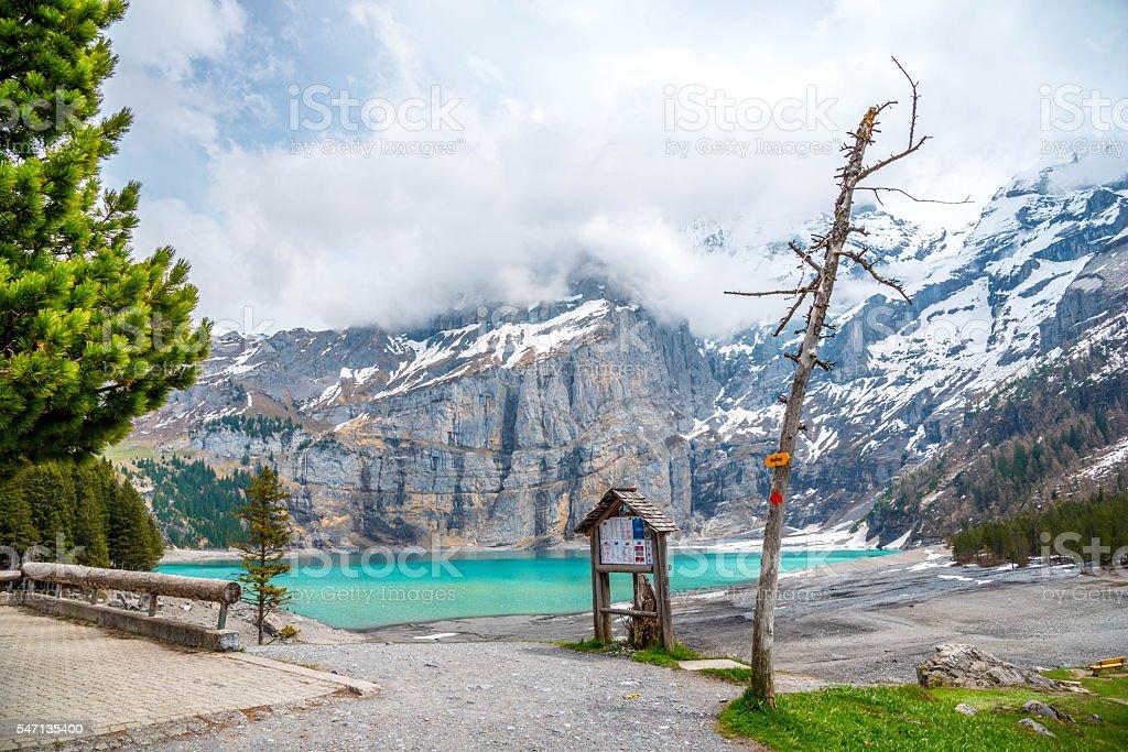 View of Oeschinensee Lake stock photo