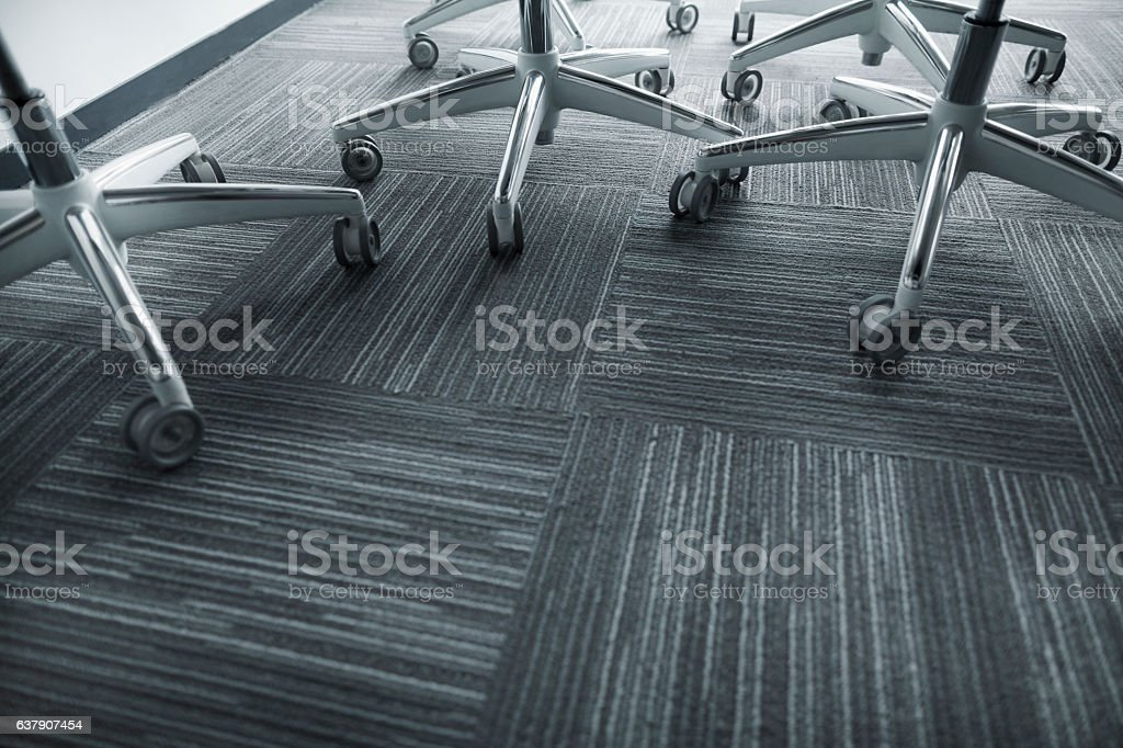View of office chairs in business meeting room stock photo