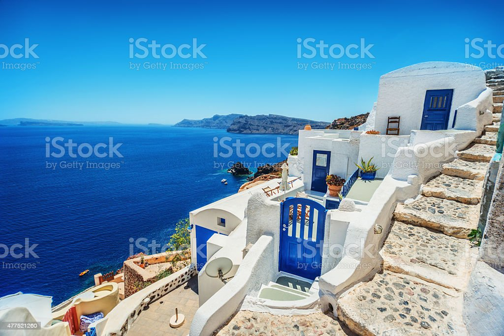 View of Oia (Ia) White Village with Traditional Santorini Architecture stock photo