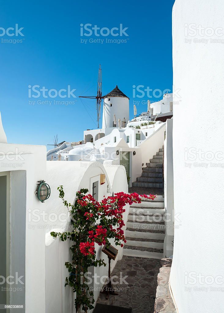 View of Oia with a windmill foto royalty-free