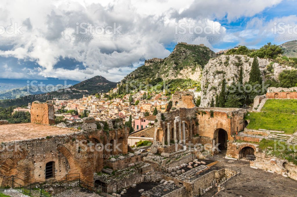 View of old amphitheater in Taormina, Italy stock photo