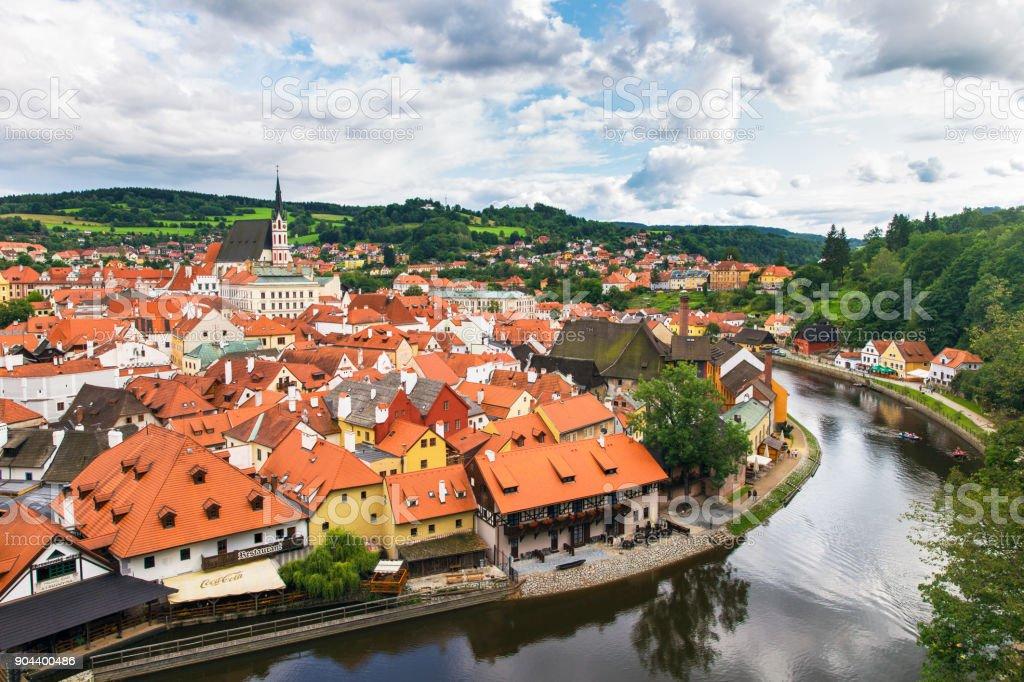 View of old Bohemian city Cesky Krumlov, Czech Republic stock photo