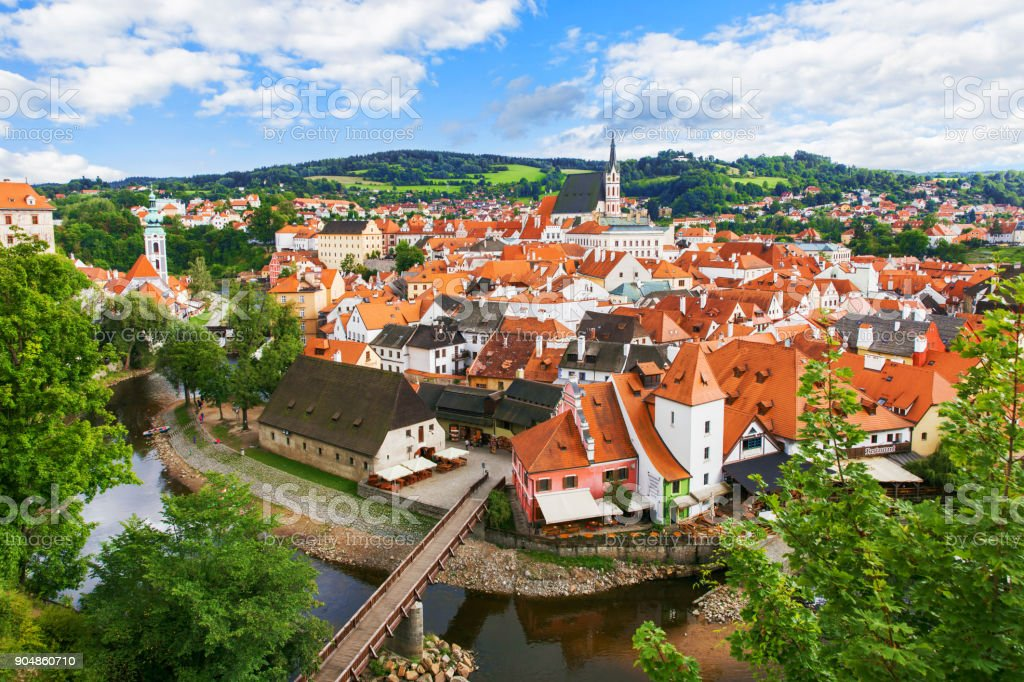 View of old Bohemian city Cesky Krumlov, Czech Republic stock photo