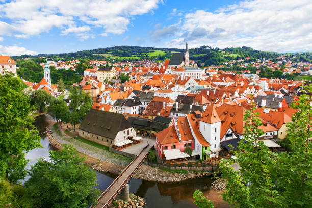View of old Bohemian city Cesky Krumlov, Czech Republic View of old Bohemian city Cesky Krumlov, Czech Republic czech culture stock pictures, royalty-free photos & images