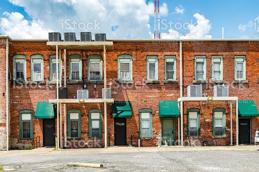 view of old brick houses in Eastpoint, USA stock photo