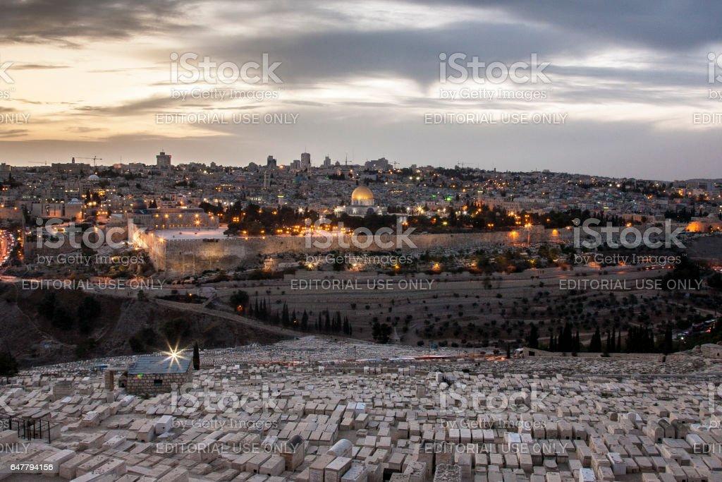 View of Old City of Jerusalem stock photo