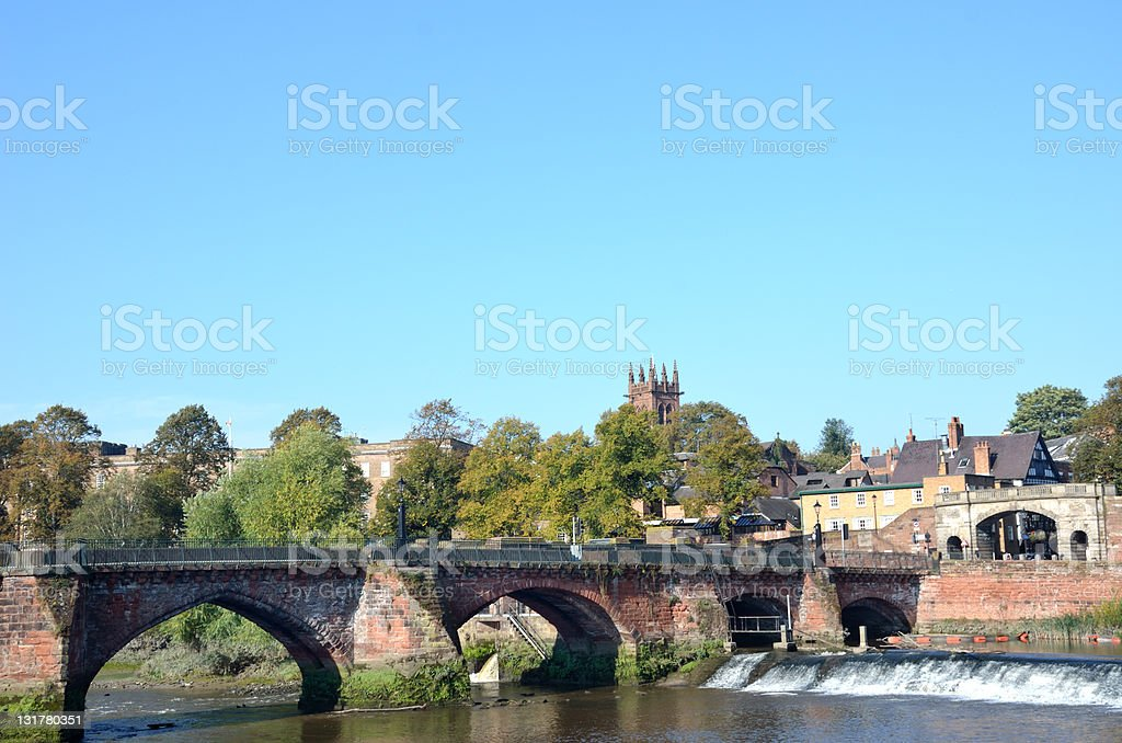 View of Old Dee Bridge from Riverside in Chester stock photo
