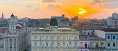 View of Old Havana during sunset with colorful and typical colonial Spanish building. Cuba.