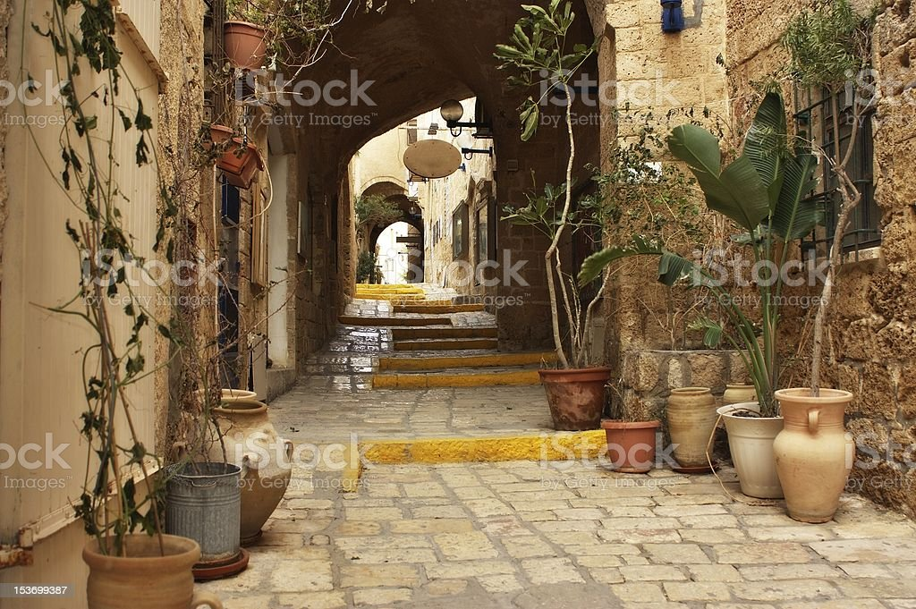 View of Old Jaffa Street in Israel stock photo
