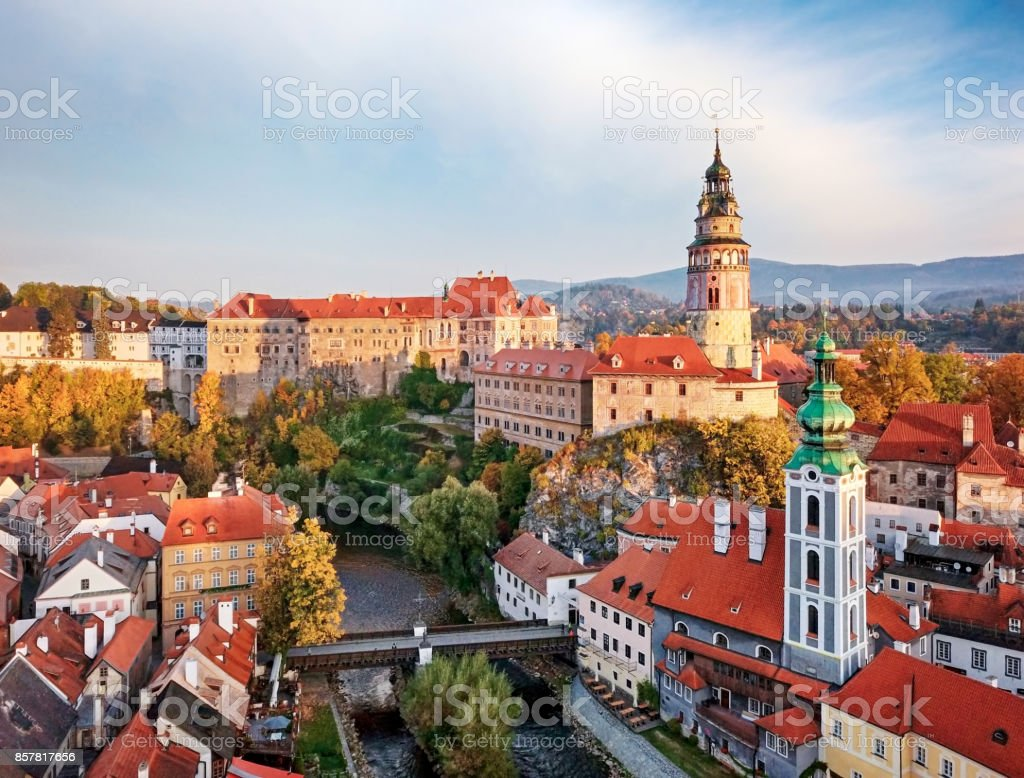 View of old town Cesky Krumlov stock photo